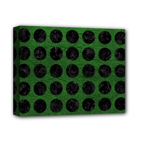 Circles1 Black Marble & Green Leather (r) Deluxe Canvas 14  X 11