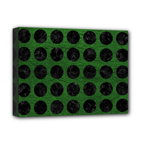 Circles1 Black Marble & Green Leather (r) Deluxe Canvas 16  X 12