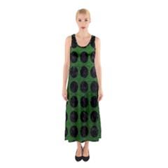 Circles1 Black Marble & Green Leather (r) Sleeveless Maxi Dress