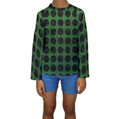 Circles1 Black Marble & Green Leather (r) Kids  Long Sleeve Swimwear