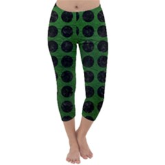 Circles1 Black Marble & Green Leather (r) Capri Winter Leggings