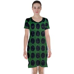 Circles1 Black Marble & Green Leather (r) Short Sleeve Nightdress