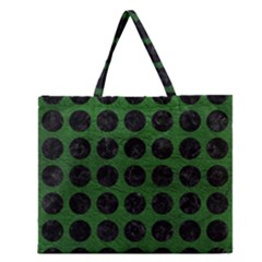 Circles1 Black Marble & Green Leather (r) Zipper Large Tote Bag