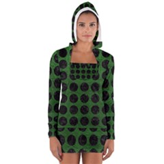 Circles1 Black Marble & Green Leather (r) Long Sleeve Hooded T Shirt