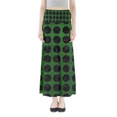 Circles1 Black Marble & Green Leather (r) Full Length Maxi Skirt