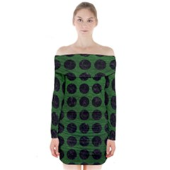 Circles1 Black Marble & Green Leather (r) Long Sleeve Off Shoulder Dress