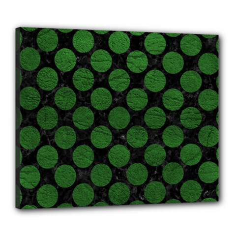 Circles2 Black Marble & Green Leather Canvas 24  X 20