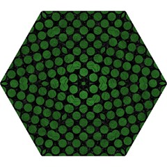 Circles2 Black Marble & Green Leather Mini Folding Umbrellas