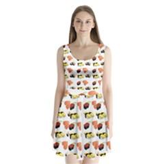 Sushi Pattern Split Back Mini Dress