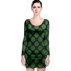 Circles2 Black Marble & Green Leather Long Sleeve Bodycon Dress