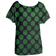 Circles2 Black Marble & Green Leather Women s Oversized Tee
