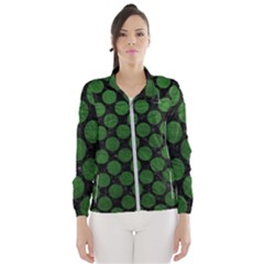 Circles2 Black Marble & Green Leather Wind Breaker (women)