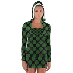 Circles2 Black Marble & Green Leather Long Sleeve Hooded T Shirt