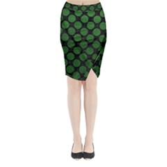 Circles2 Black Marble & Green Leather Midi Wrap Pencil Skirt