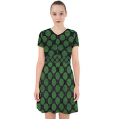 Circles2 Black Marble & Green Leather Adorable In Chiffon Dress