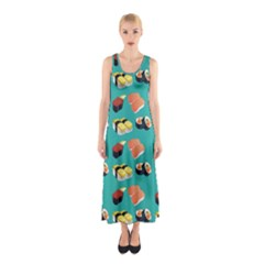 Sushi Pattern Sleeveless Maxi Dress