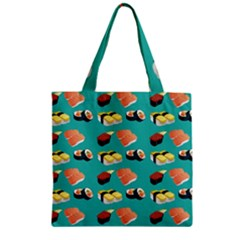 Sushi Pattern Zipper Grocery Tote Bag