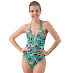 Sushi Pattern Halter Cut Out One Piece Swimsuit