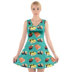 Sushi Pattern V Neck Sleeveless Skater Dress