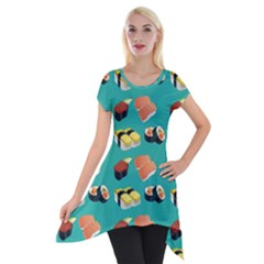 Sushi Pattern Short Sleeve Side Drop Tunic