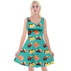 Sushi Pattern Reversible Velvet Sleeveless Dress