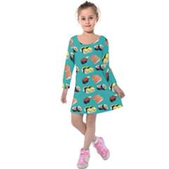Sushi Pattern Kids  Long Sleeve Velvet Dress