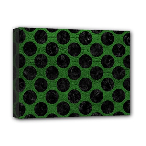 Circles2 Black Marble & Green Leather (r) Deluxe Canvas 16  X 12