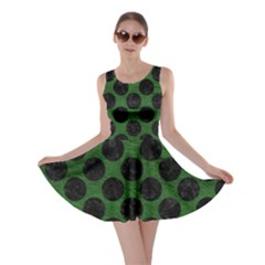 Circles2 Black Marble & Green Leather (r) Skater Dress