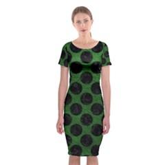 Circles2 Black Marble & Green Leather (r) Classic Short Sleeve Midi Dress
