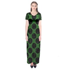 Circles2 Black Marble & Green Leather (r) Short Sleeve Maxi Dress