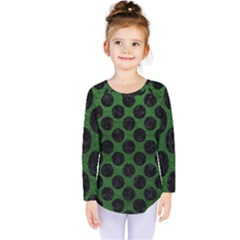 Circles2 Black Marble & Green Leather (r) Kids  Long Sleeve Tee