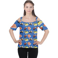 Sushi Pattern Cutout Shoulder Tee
