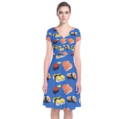 Sushi Pattern Short Sleeve Front Wrap Dress