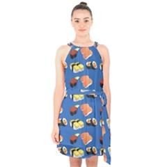 Sushi Pattern Halter Collar Waist Tie Chiffon Dress