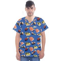 Sushi Pattern Men s V Neck Scrub Top