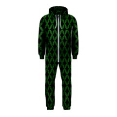 Circles3 Black Marble & Green Leather Hooded Jumpsuit (kids)