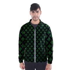 Circles3 Black Marble & Green Leather (r) Wind Breaker (men)