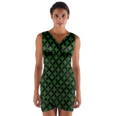 Circles3 Black Marble & Green Leather (r) Wrap Front Bodycon Dress