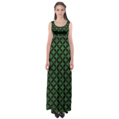 Circles3 Black Marble & Green Leather (r) Empire Waist Maxi Dress
