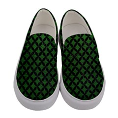 Circles3 Black Marble & Green Leather (r) Women s Canvas Slip Ons