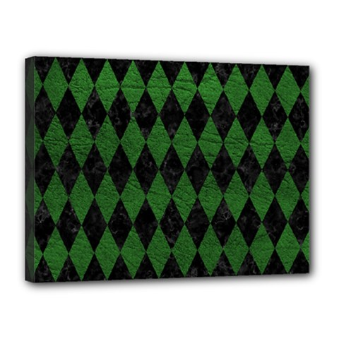Diamond1 Black Marble & Green Leather Canvas 16  X 12