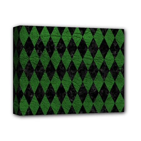 Diamond1 Black Marble & Green Leather Deluxe Canvas 14  X 11