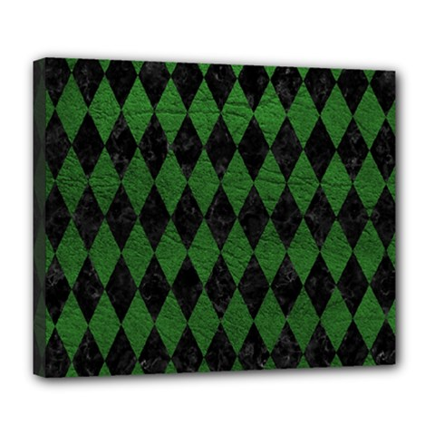 Diamond1 Black Marble & Green Leather Deluxe Canvas 24  X 20