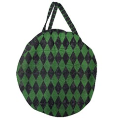 Diamond1 Black Marble & Green Leather Giant Round Zipper Tote