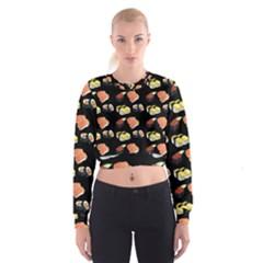 Sushi Pattern Cropped Sweatshirt