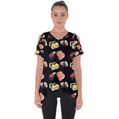 Sushi Pattern Cut Out Side Drop Tee