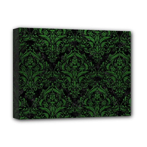 Damask1 Black Marble & Green Leather Deluxe Canvas 16  X 12