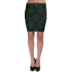 Damask1 Black Marble & Green Leather Bodycon Skirt