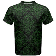 Damask1 Black Marble & Green Leather Men s Cotton Tee