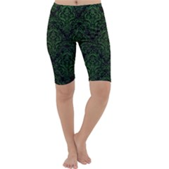 Damask1 Black Marble & Green Leather Cropped Leggings